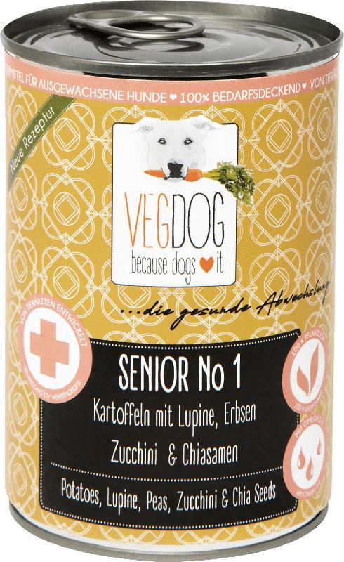 VegDog Nassfutter für Hunde, Senior No 1, Kartoffeln mit Lupine, Erbsen, Zucchini & Chiasamen