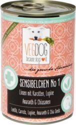 VegDog Nassfutter für Hunde, Sensibelchen No 1, Linsen mit Karotten, Lupine, Amaranth & Chiasamen