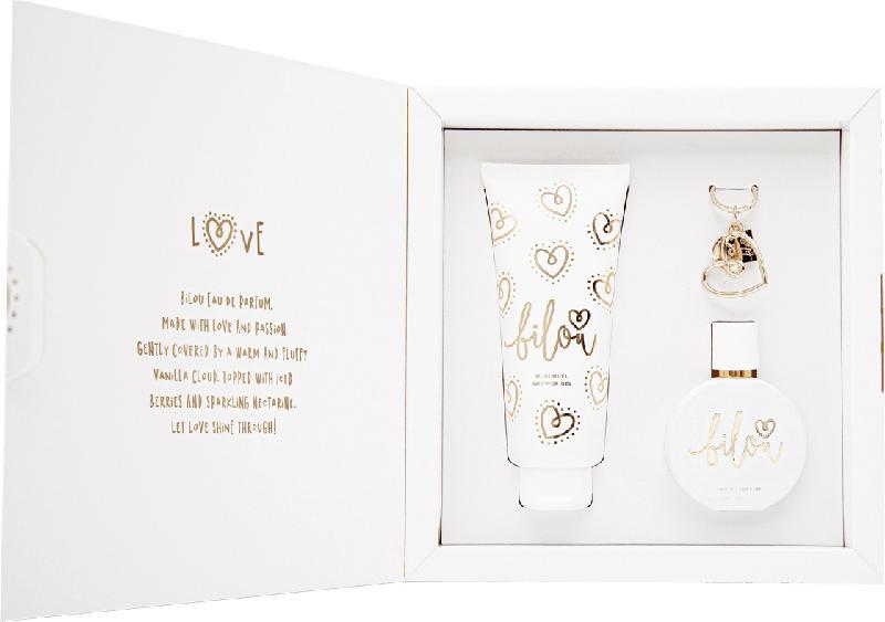 bilou Geschenkset Gold Love Eau de Parfum 50ml + Duschgel 200ml + Keychain