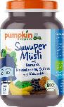 dm-drogerie markt pumpkin organics Super Müsli: Banane, Blaubeere & Spinat, ab 1.Jahr