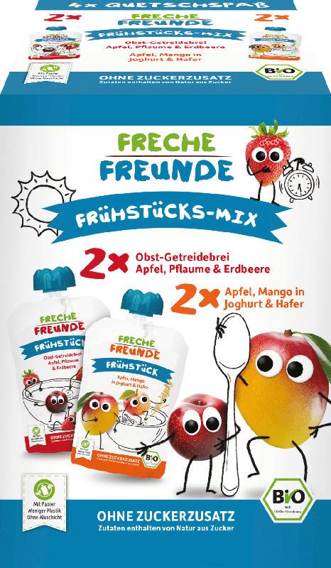 Freche Freunde Quetschbeutel Frühstücks-Mix, 4x100g