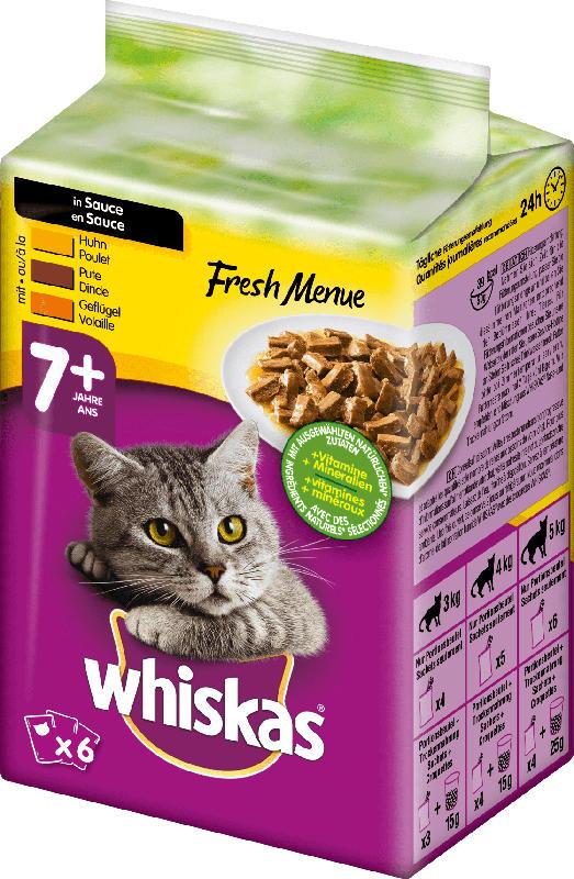 Whiskas Nassfutter für Katzen, Senior 7+, Fresh Menue in Sauce, mit Huhn, Truthahn & Geflügel, 6x50g