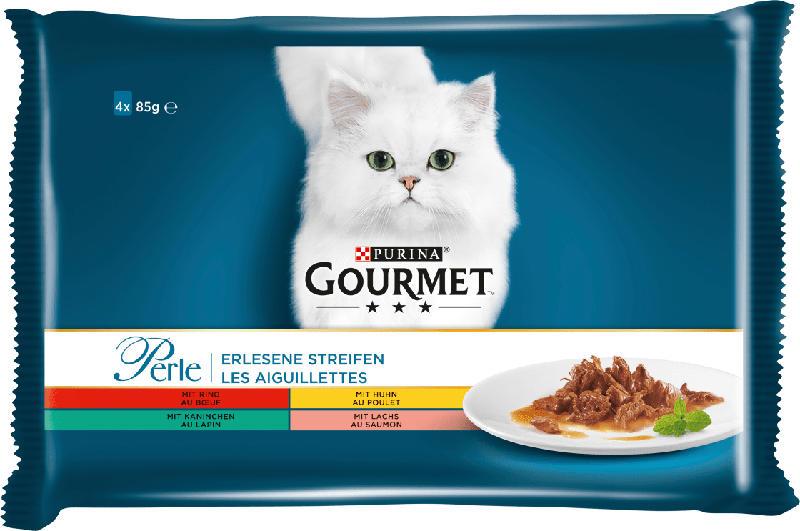 GOURMET Nassfutter für Katzen, Perle Erlesene Streifen mit Rind, Huhn, Kaninchen und Lachs, Multipack 4x85g