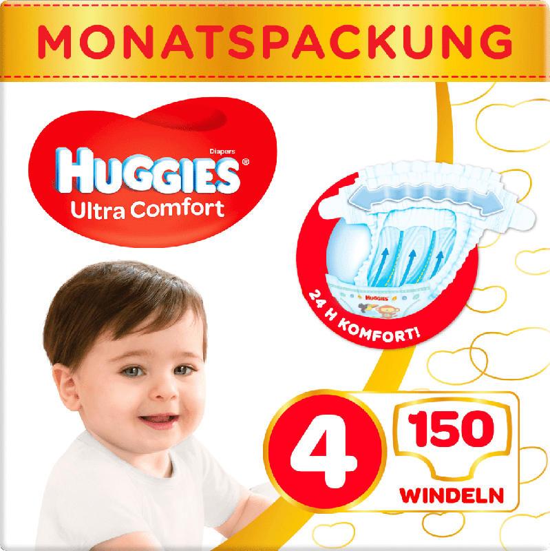 Huggies Windeln Ultra Comfort Größe 4, 7-18kg, Monatsbox
