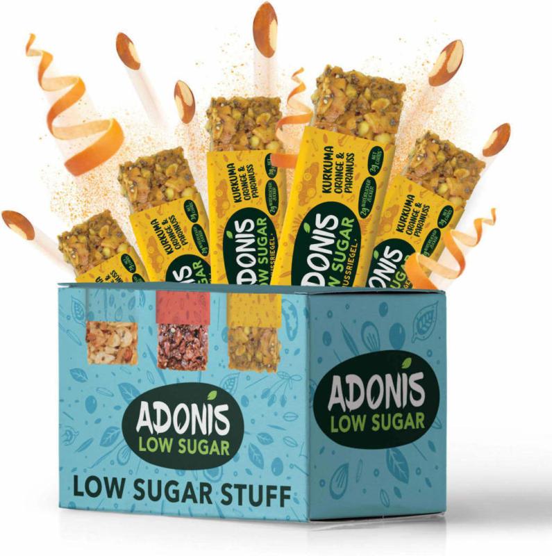 ADONIS Nuss-Riegel Low-Sugar Kurkuma, Orange & Paranuss (5 x 35g)