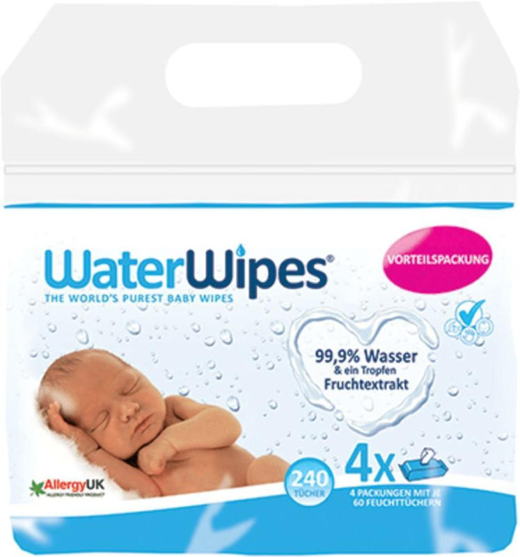 WaterWipes Feuchttücher, 4x60 Stück
