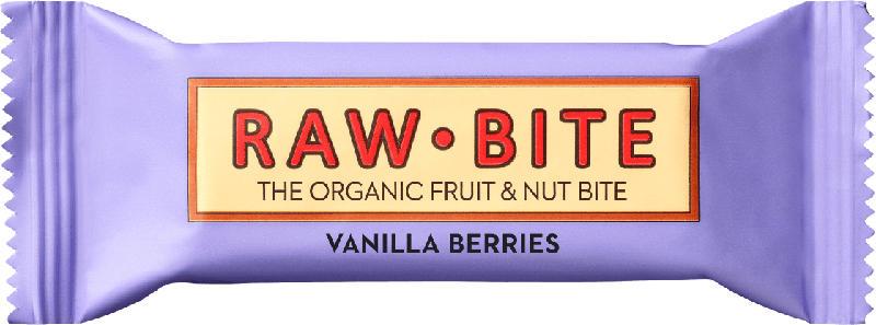 raw bite Rohkost-Riegel vanilla berries, mit Beeren & Vanille