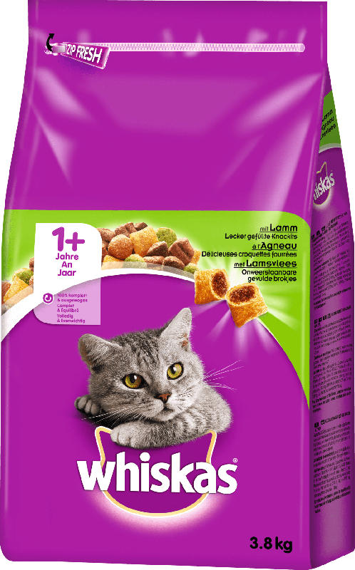 Whiskas Trockenfutter für Katzen, Adult 1+, Lamm
