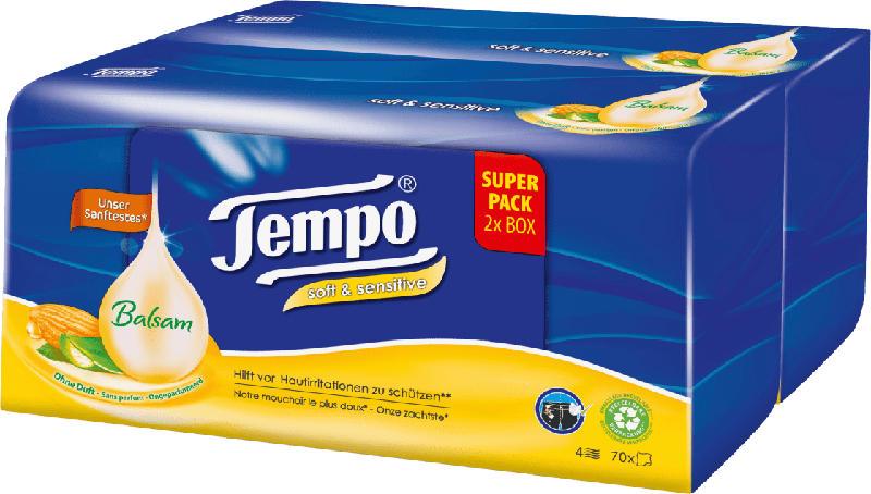 Tempo Taschentücher Box Soft&Sensitive Duo Box (2 x 70 St)