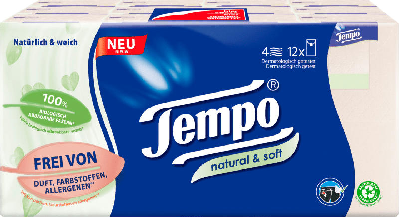 Tempo Taschentuch natural & soft Softpack 12x9
