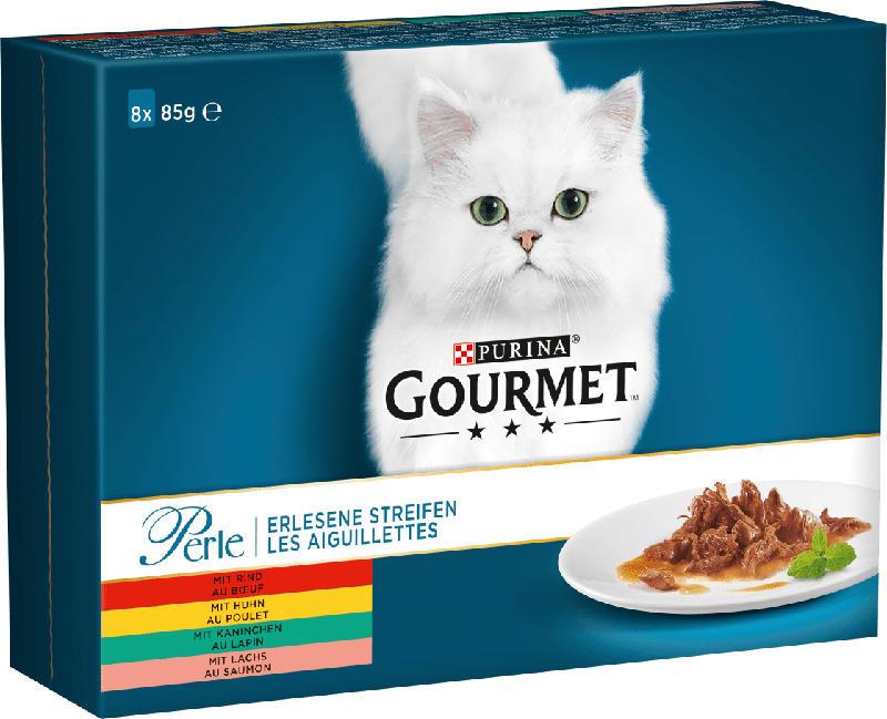 GOURMET Nassfutter für Katzen, Perle, 8x85g