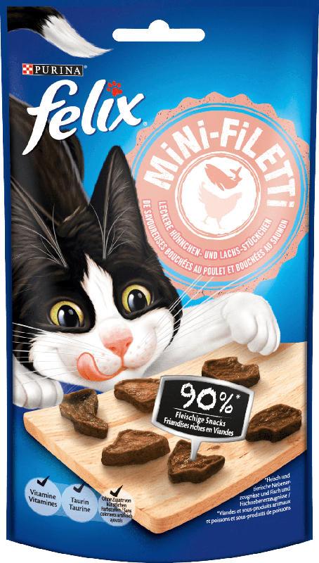 Felix Snack für Katzen, Mini-Filetti, Hühnchen & Lachs
