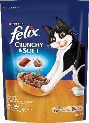 Felix Trockenfutter für Katzen, Crunchy & Soft mit Huhn, Truthahn und Gemüsezugabe