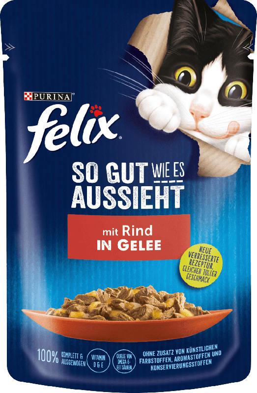 Felix Nassfutter für Katzen, Adult, mit Rind