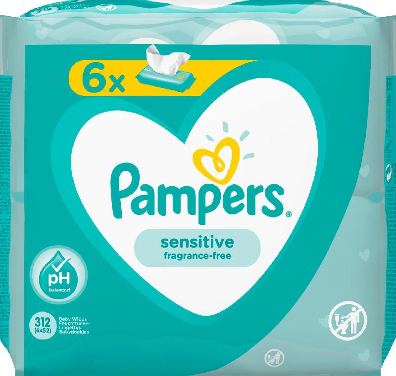 Pampers Feuchttücher Sensitive, 6x52 Stück