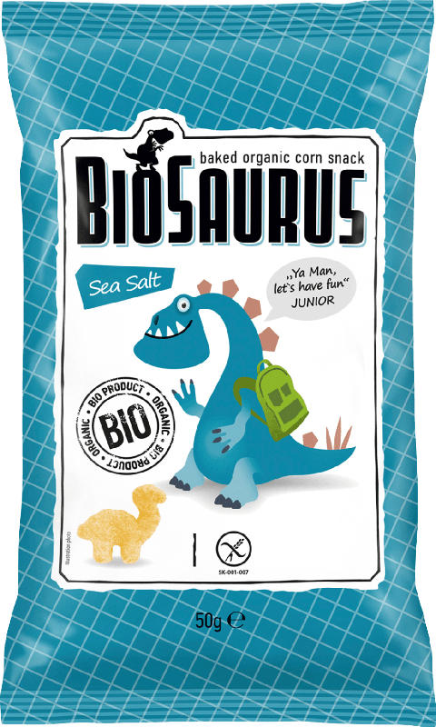 BioSaurus Snack gebackener Bio-Mais Sea Salt