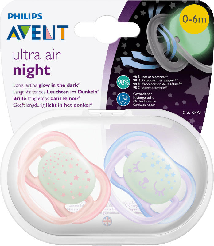 Philips AVENT Schnuller ultra air night Silikon, 0-6 Monate