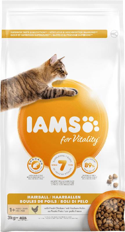 IAMS Trockenfutter für Katzen, Adult, Vital Haarballen Huhn
