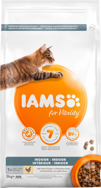IAMS Trockenfutter für Katzen, Adult, Vital Indoor Huhn