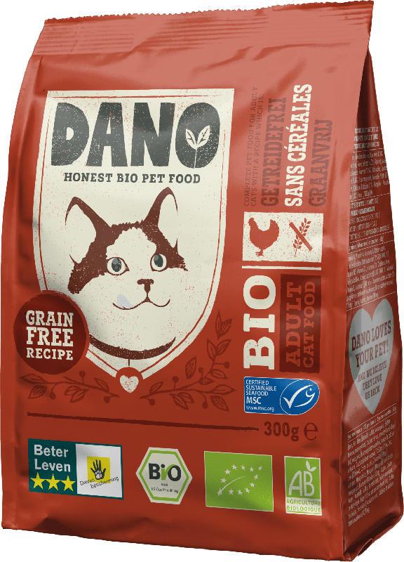DANO Trockenfutter für Katzen, Bio, mit Huhn, getreidefrei