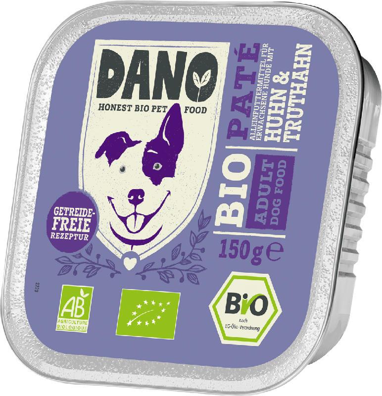 DANO Nassfutter für Hunde, Bio Pastete mit Huhn & Truthahn