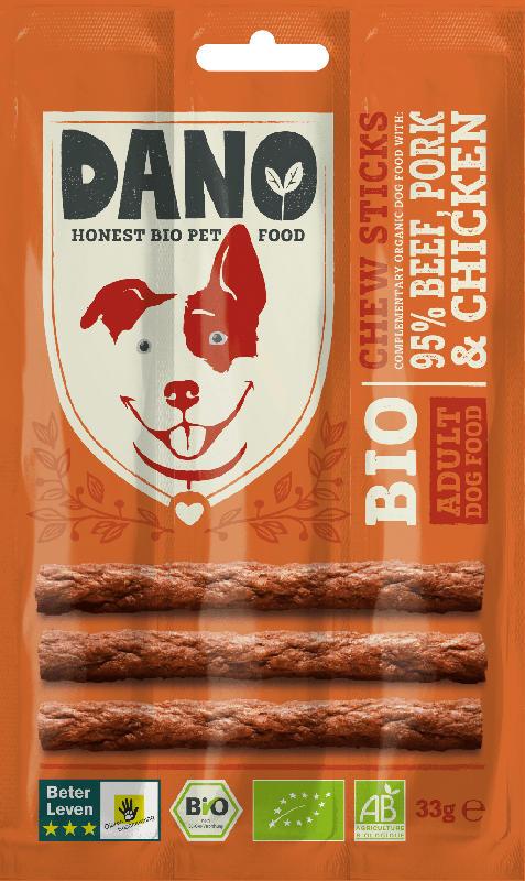 DANO Snack für Hunde, Bio, Adult, Kaustange