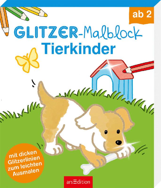 Ars Edition Glitzer-Malblock Tierkinder