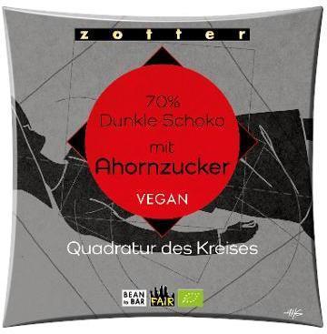 Dunkle Schoko 70% mit Ahornzucker