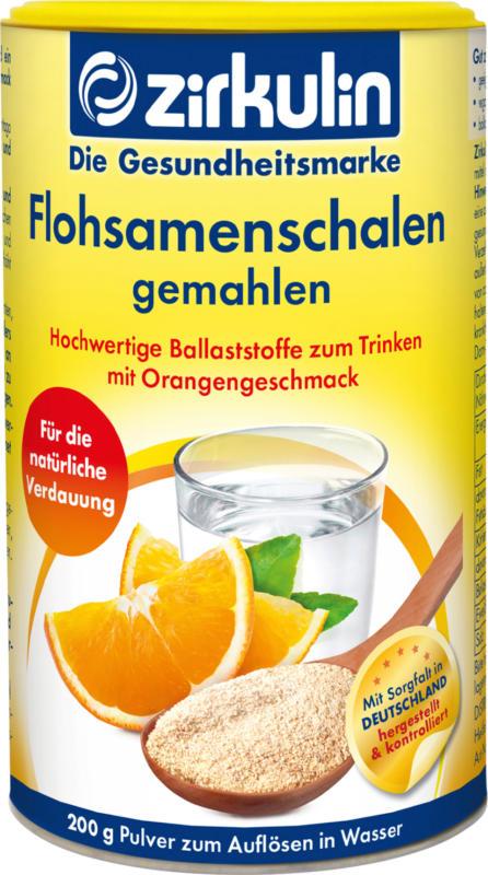 Zirkulin Flohsamenschalen gemahlen mit Orange