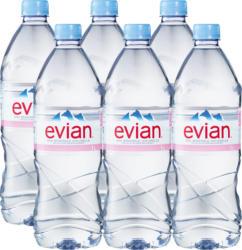 Evian Mineralwasser, ohne Kohlensäure, 6 x 1 Liter
