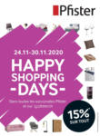 Pfister Happy Shopping Days - au 30.11.2020