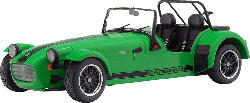 SOLIDO Caterham Seven 275R, Baujahr 2014, Modellauto, Maßstab 1:18, metallic grün Spielzeugmodellauto, Silber/Grün