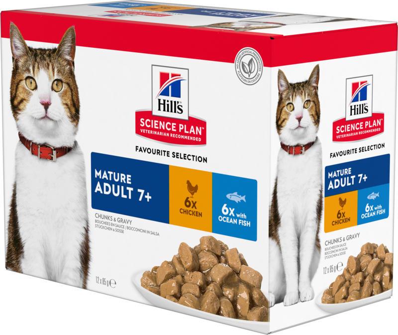 Hill's Katze Science Plan Mature Adult 7+ Nassfutter Multipack Huhn & Meeresfisch 12x85g