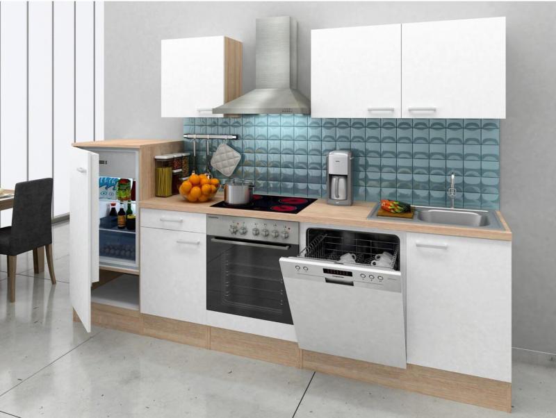Respekta Küchenzeile KB280ENWPC 280 cm Weiß Eiche-Natura Nachbildung