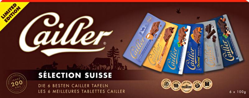 Tablettes de chocolat Sélection Suisse Cailler, assorties, 6 x 100 g