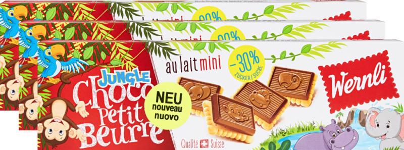 Biscotti Choco Petit Beurre mini Jungle Wernli , au lait, 3 x 125 g