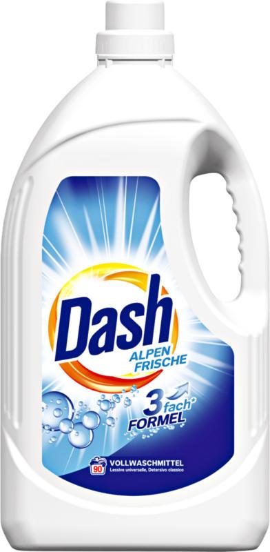 Lessive liquide Fraîcheur alpine Dash, 90 lessives, 4,95 litres