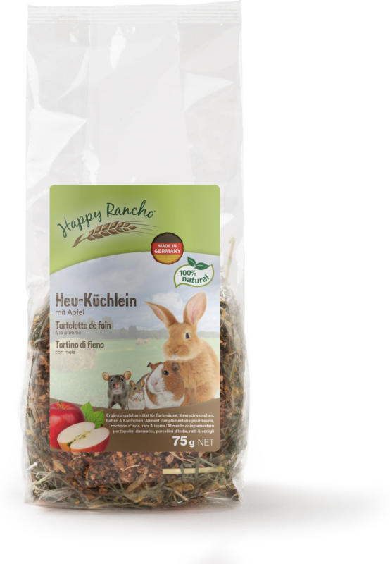Happy Rancho Nagersnack Heu-Küchlein Apfel 75g