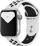 MediaMarkt APPLE  Watch Nike Series 5 (GPS + Cellular) 40mm Smartwatch Aluminium, Fluorelastomer, 130 - 200 mm, Armband: Pure  Platinum Schwarz, Gehäuse: Silber