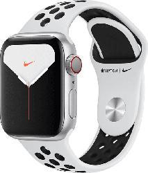 APPLE  Watch Nike Series 5 (GPS + Cellular) 40mm Smartwatch Aluminium, Fluorelastomer, 130 - 200 mm, Armband: Pure  Platinum Schwarz, Gehäuse: Silber