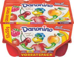 Danone Danonino Fruchtquark, assortiert: Erdbeere, Banane, Himbeere, Aprikose, Kirsche, 12 x 50 g