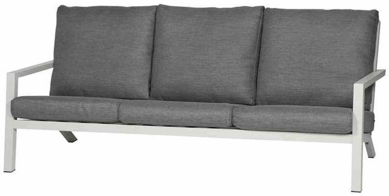 "Lounge 3er-Sofa ""Belia"", 210x81x91 cm, matt weiß-grau weiß-grau"