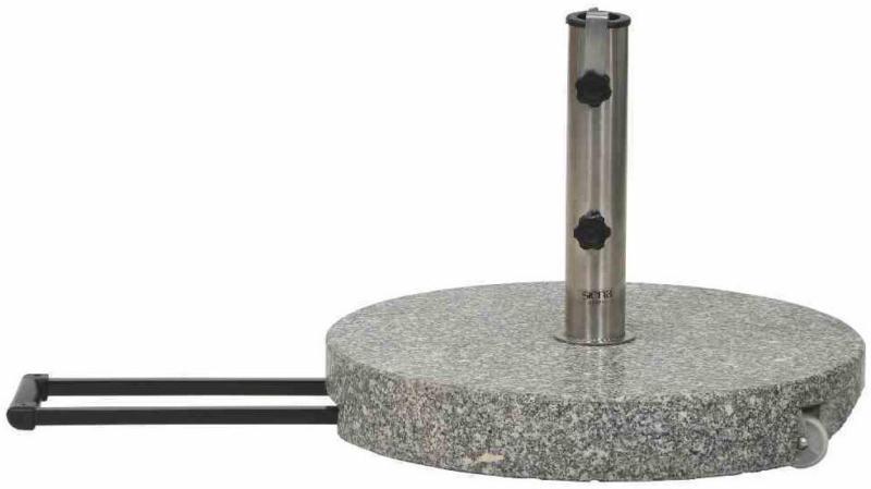 Granit-Schirmständer 40 kg, Ø50x8 cm, hellgrau, für Schirmstock-Ø 25-48 mm, inkl. Rollen