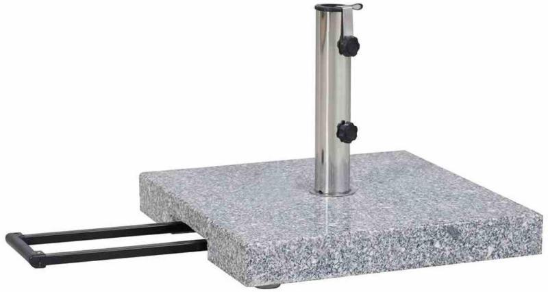 Granit-Schirmständer 45 kg, 50x50x9 cm, hellgrau, für Schirmstock-Ø 25-48 mm, inkl. Rollen