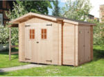 OBI Weka Holz-Gartenhaus Bologna Natur B x T: 340 cm x 200 cm davon 140 cm Anbaudach