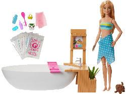 BARBIE Wellnesstag Puppe Sprudelndes Bad, Anziehpuppe (blond), Barbie Badewanne Puppenset, Mehrfarbig