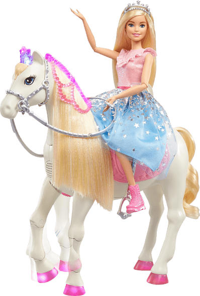BARBIE Barbie Prinzessinnen Abenteuer Tanzendes Pferd mit Prinzessin Puppe, Licht & Geräuschen Anziehpuppe, Mehrfarbig