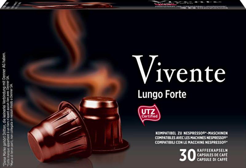 Denner Kaffeekapseln Vivente, Lungo Forte, kompatibel zu Nespresso®-Maschinen, 30 Kapseln