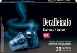 Denner Kaffeekapseln Decaffeinato, Espresso/Lungo, kompatibel zu Nespresso®-Maschinen, 30 Kapseln