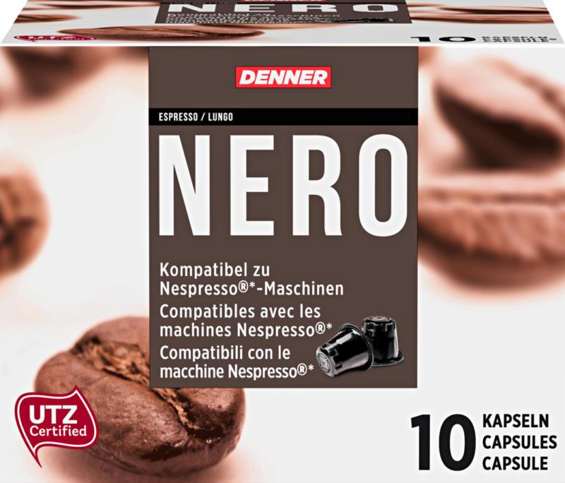 Capsule di caffè Nero Denner, Espresso/Lungo, compatibili con il macchina Nespresso®, 10 capsule